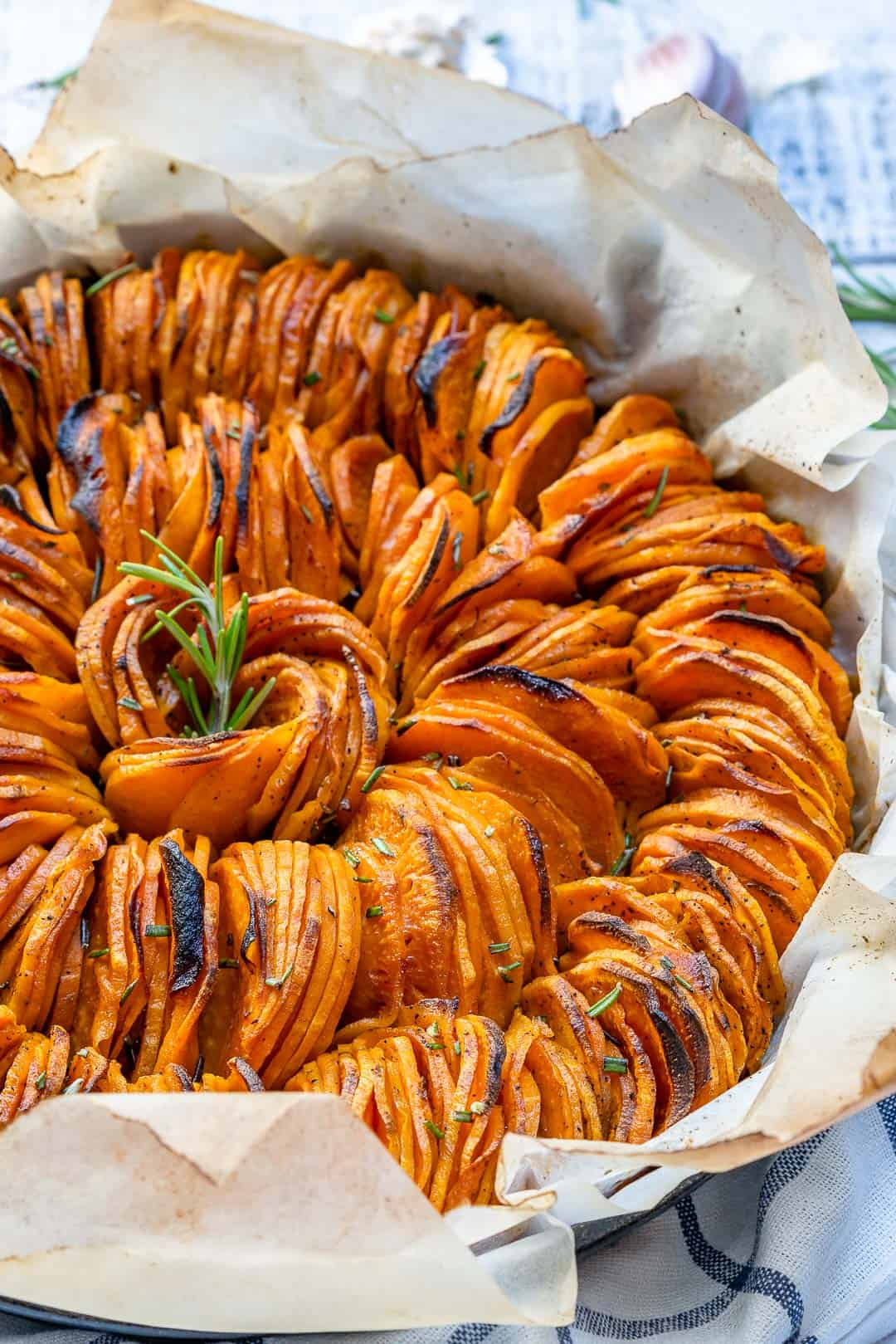 Healthy Roasted Smoked Sweet Potatoes Recipe | Thinly sliced and full of flavor| www.healthyfitnessmeals.com | Smoked sweet potatoes | Roasted sliced sweet potatoes| Roasted sweet potato recipe | #sweetpotatoes #roastedsweetpotatoes #healthyrecipe.