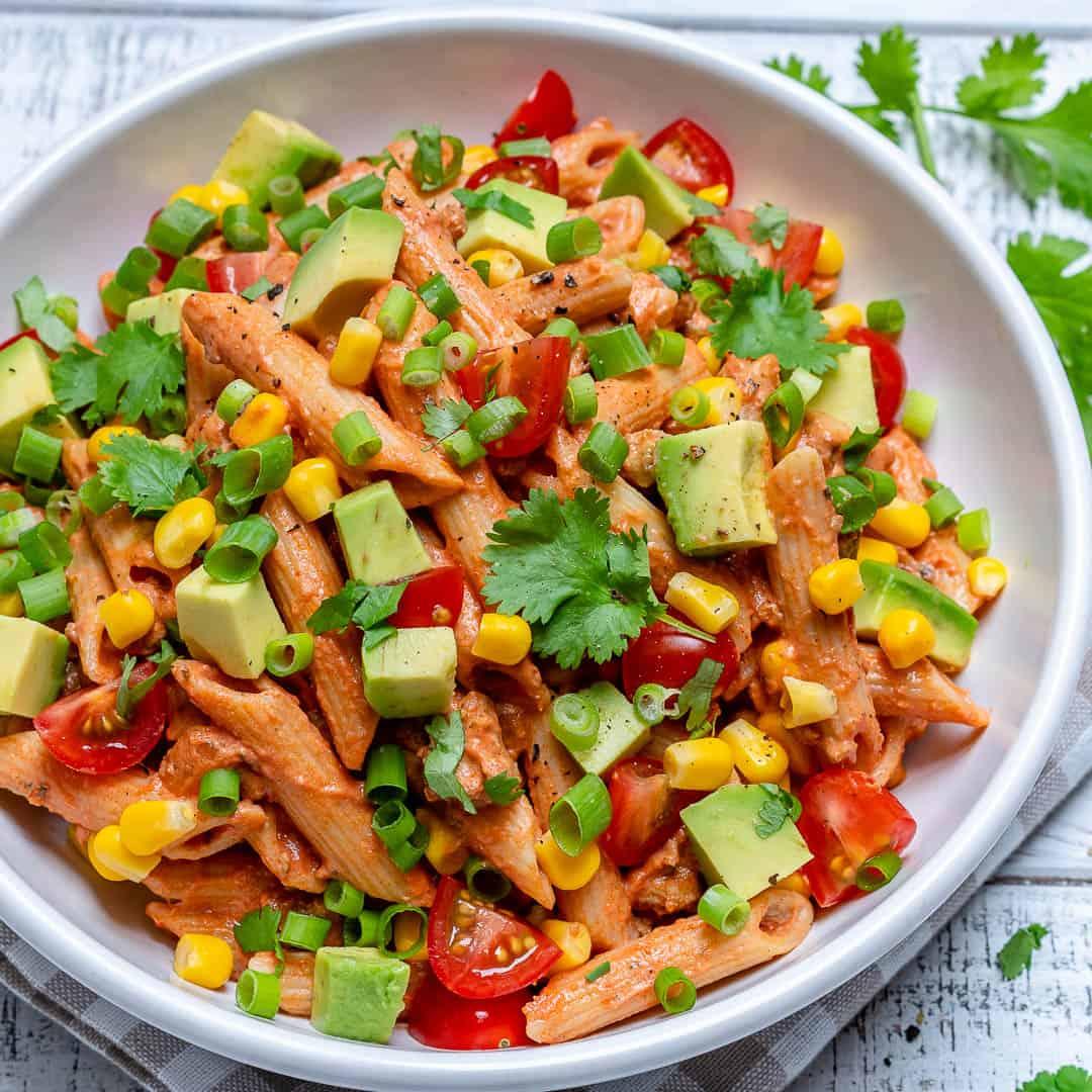 Healthy Taco Pasta Salad in a bowl