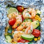 Citrusy garlic butter shrimp packets