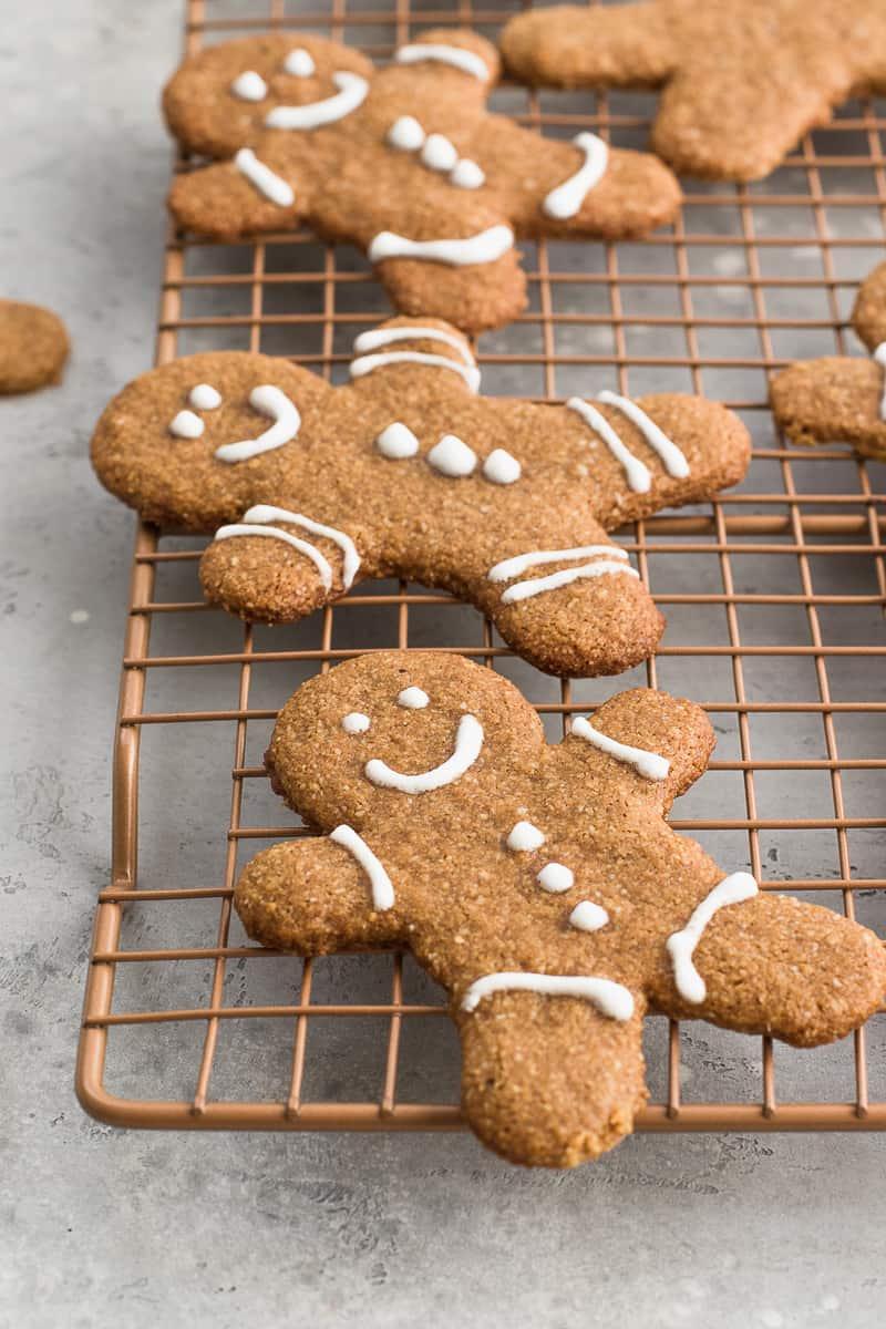 paleo Gingerbread Cookies on rack