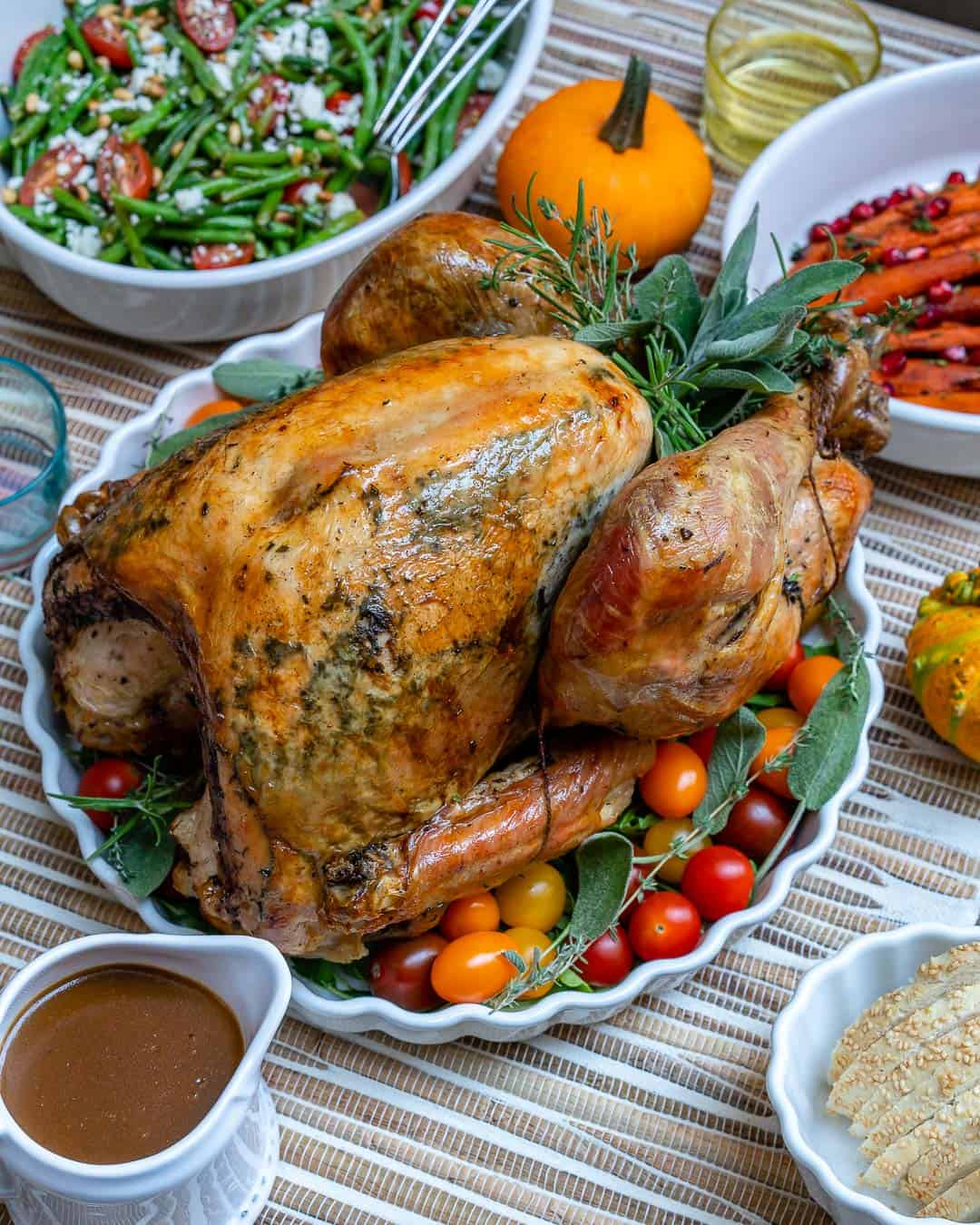easy roasted turkey recipe on a dish