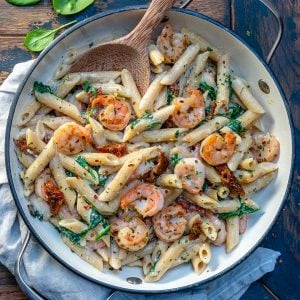 whole wheat penne with shrimp