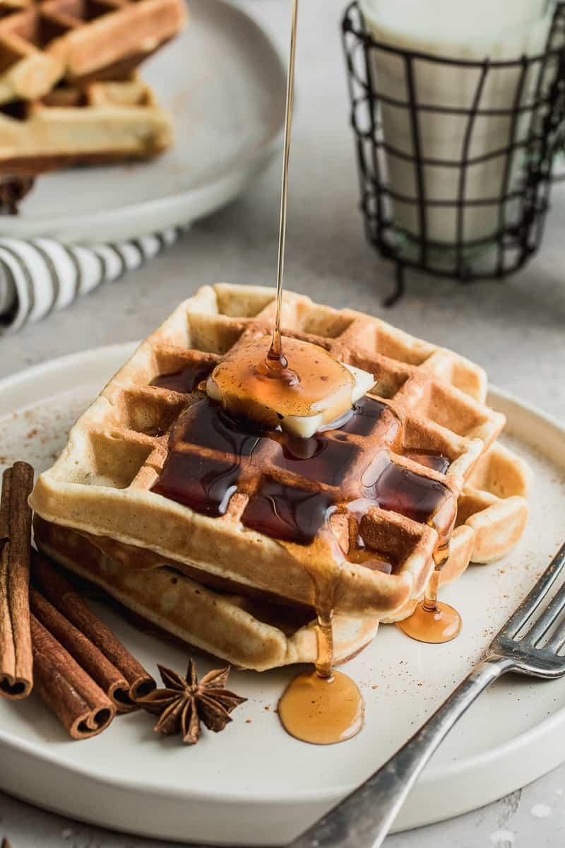 gluten free eggnog waffles