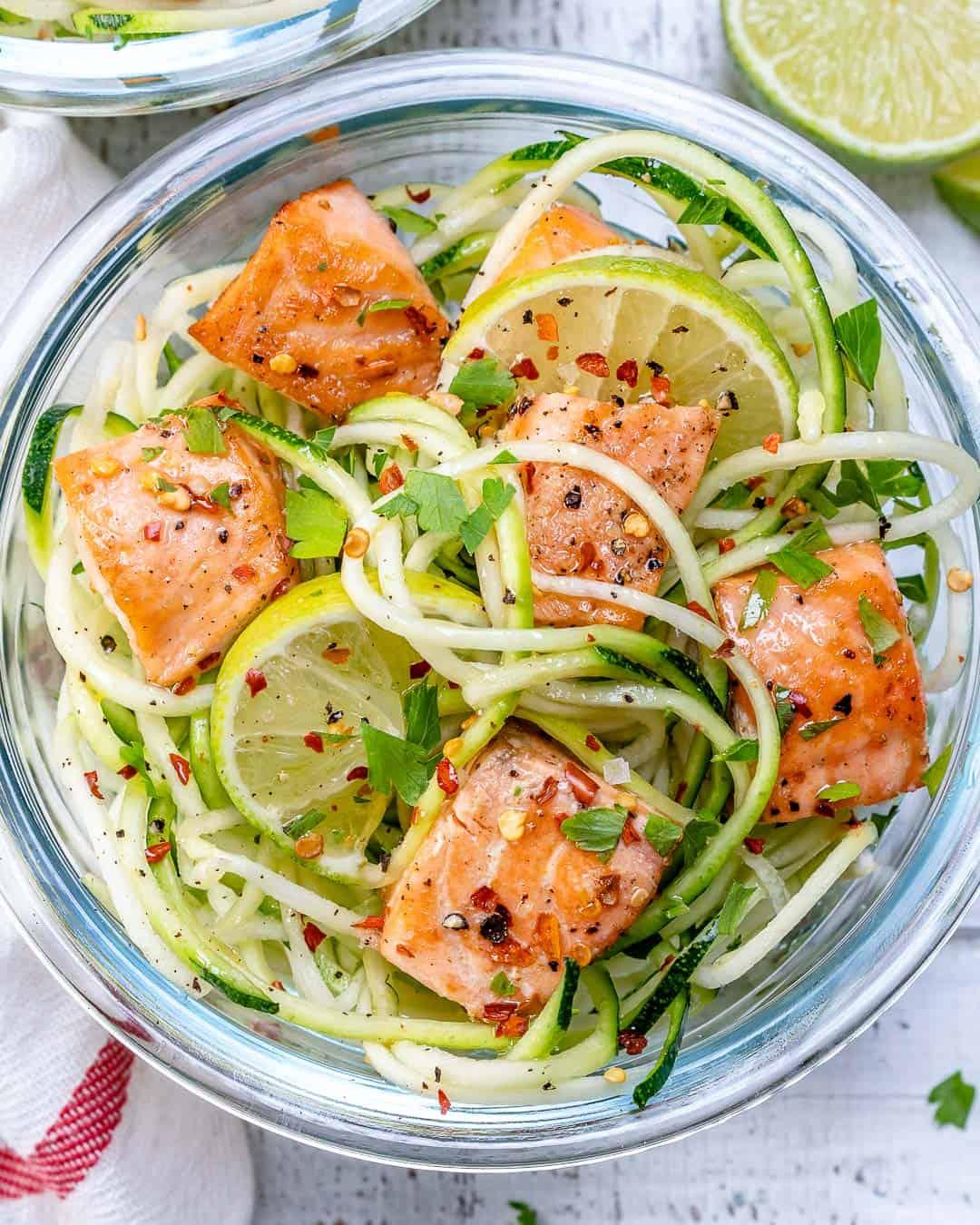 salmon recipe over zucchini noodles