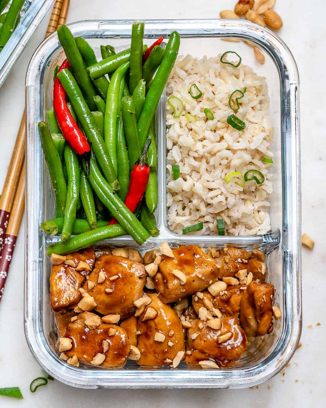 Sweet and Spicy Chicken in a meal prep container