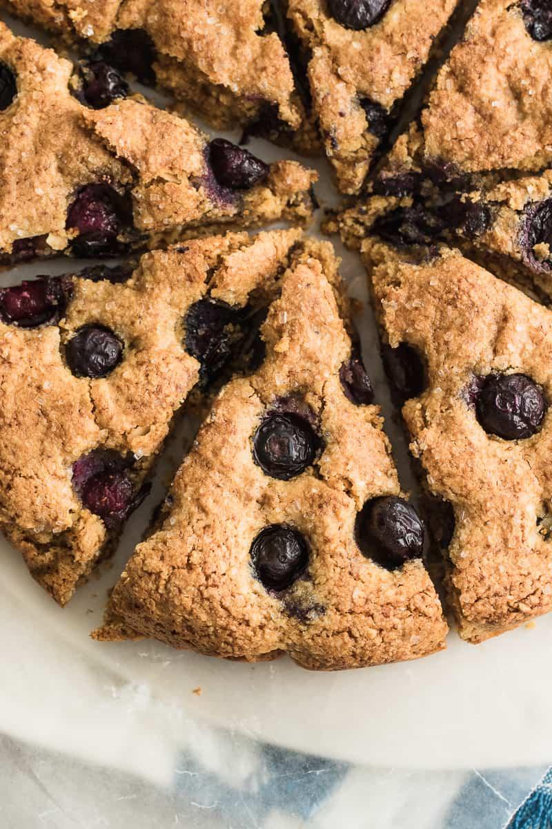 top down shot of gluten free blueberry scones