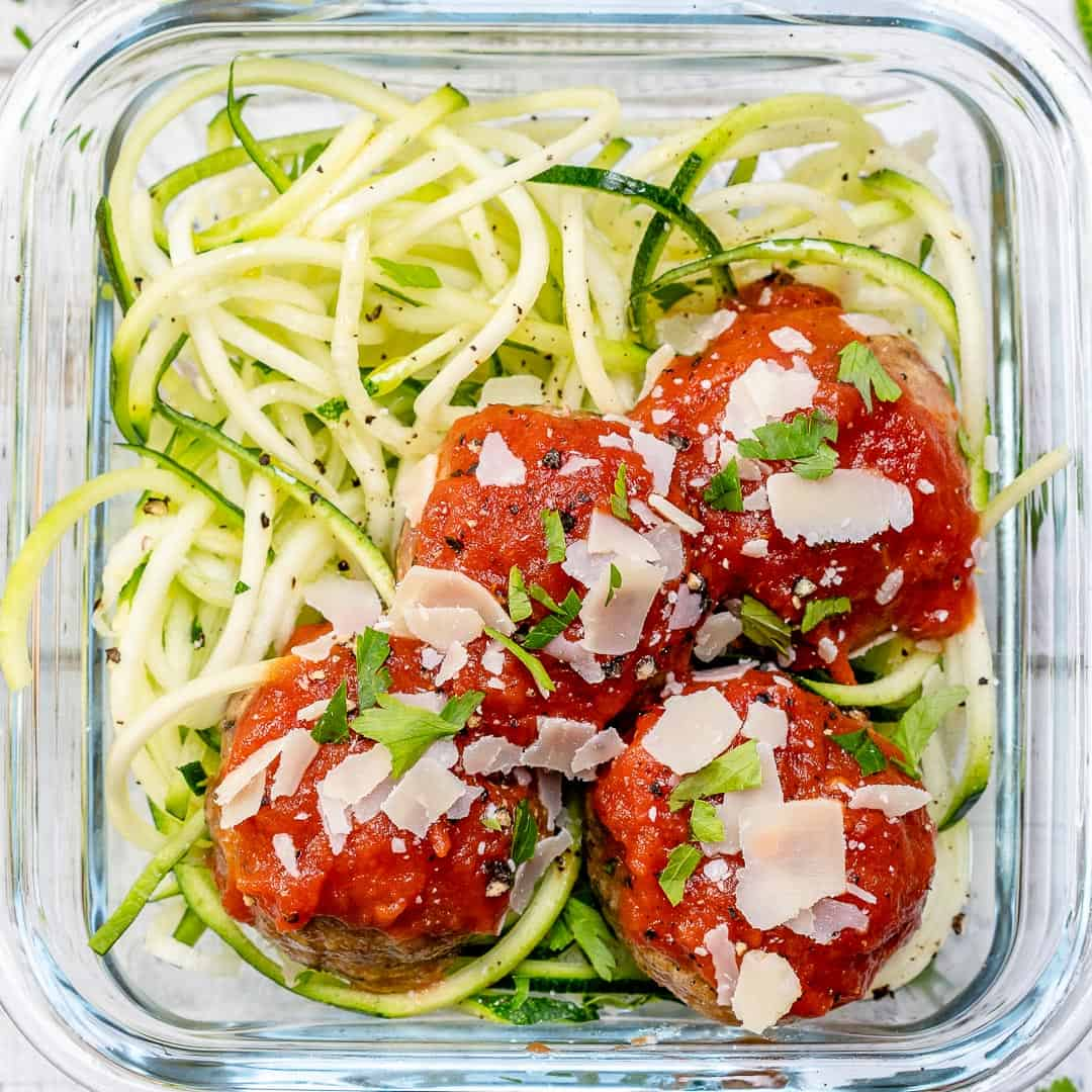 meatballs on zoodles