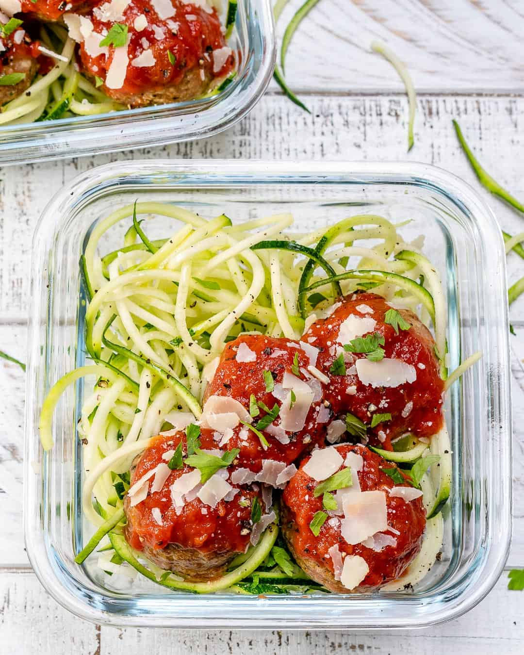 Zoodles Recipe in containers