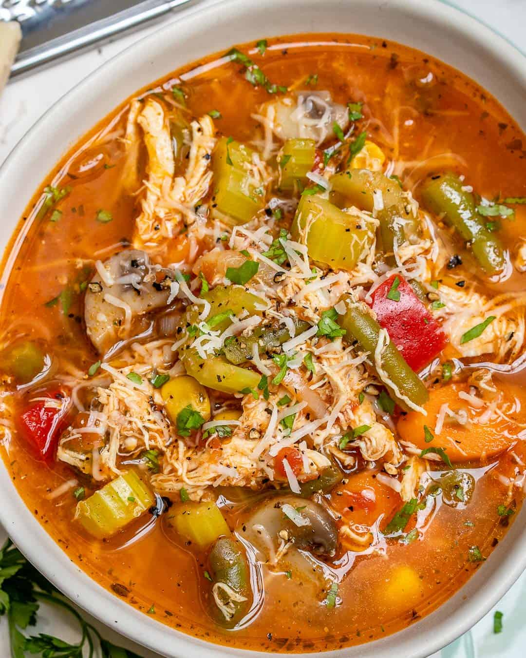 vegetable soup recipe with shredded chicken
