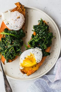 sweet potato poached egg breakfast
