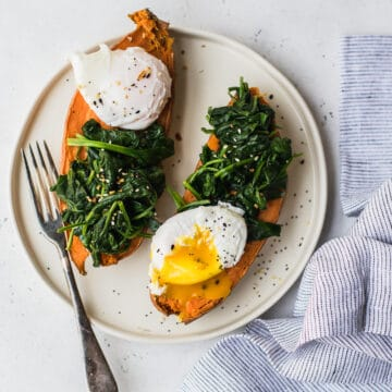 sweet potato poached egg breakfast