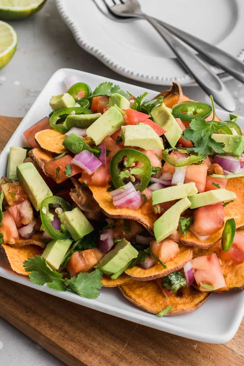 vegan nachos on a plate