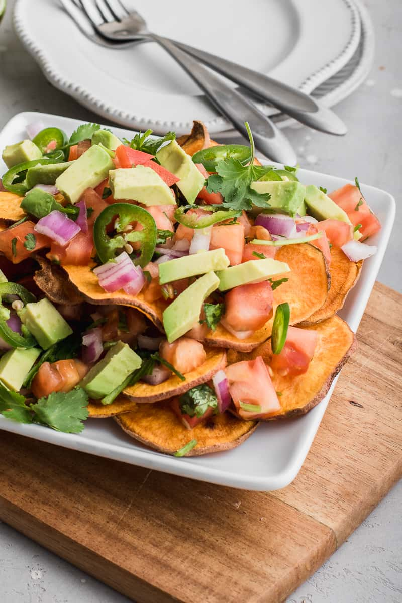 close up of sweet potato nachos