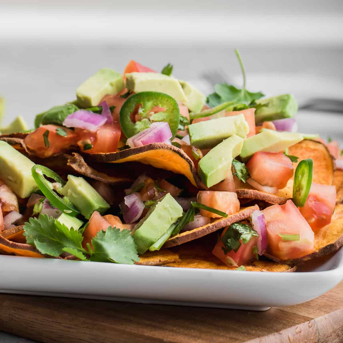 side shot of vegan nachos