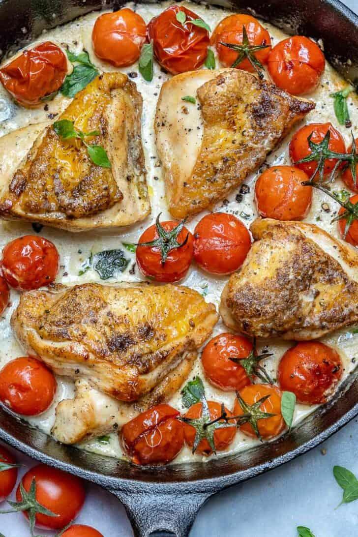garlic chicken cooked in skillet