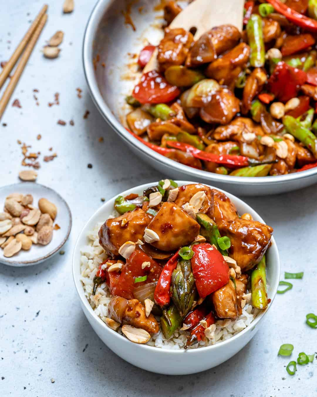 classic kung pao chicken recipe over brown rice