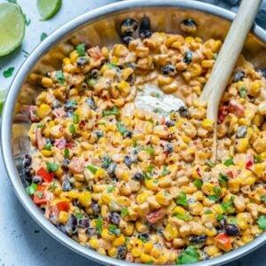 creamy southern corn recipe in skillet