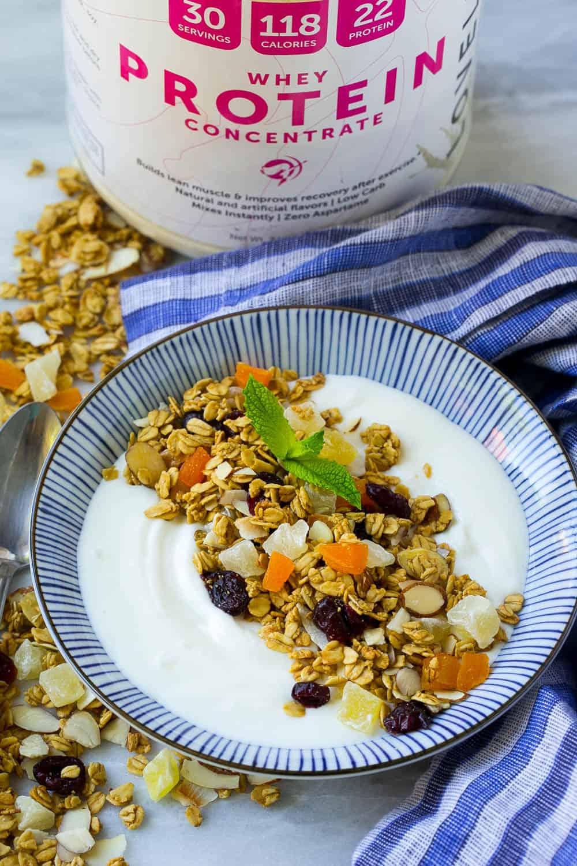 granola with protein and yogurt