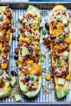 Low Carb Burrito Zucchini Boats