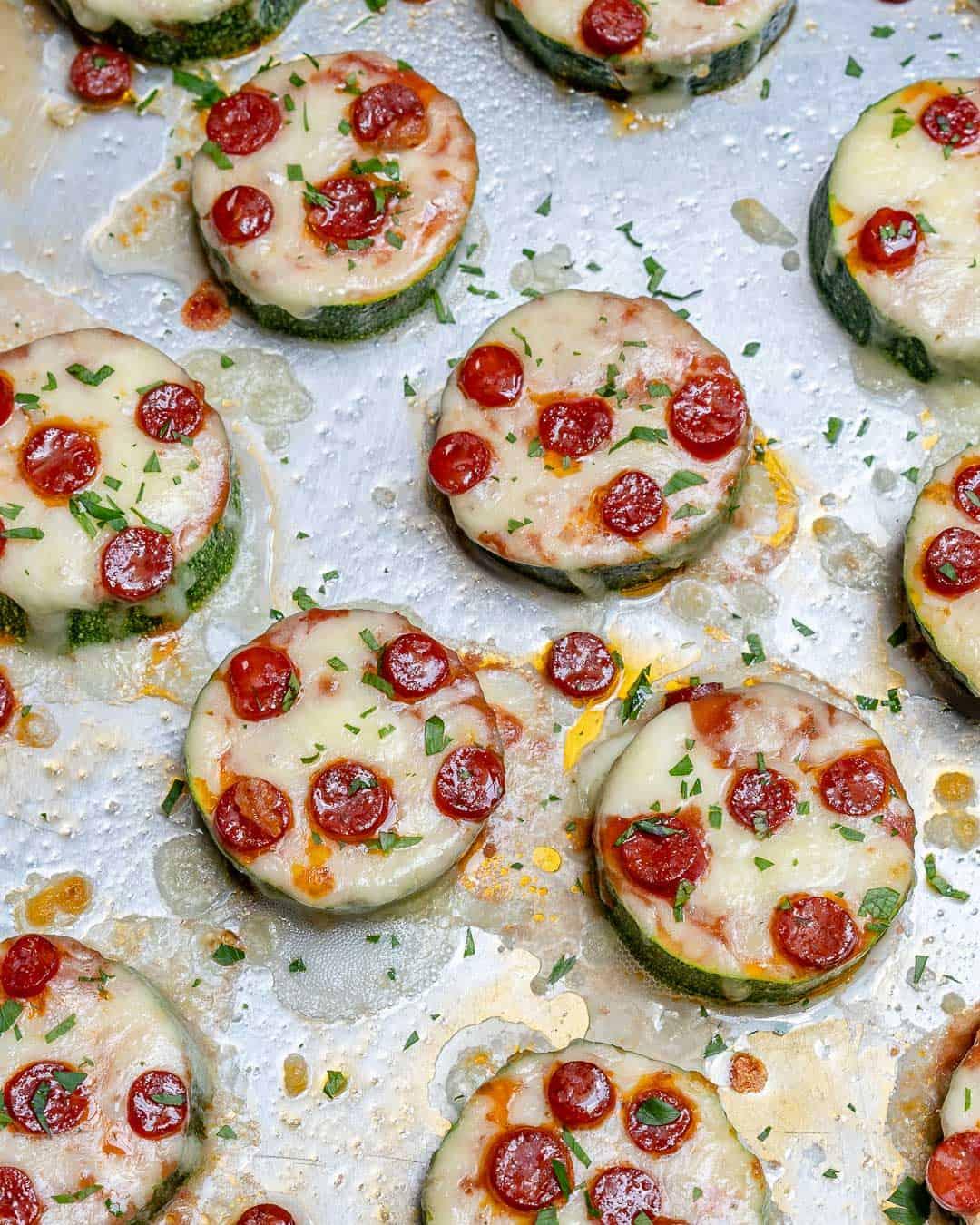 Zucchini pizza bites on a tray