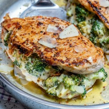 Cheesy broccoli stuffed chicken