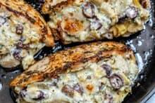 Creamy olive artichoke stuffed chicken