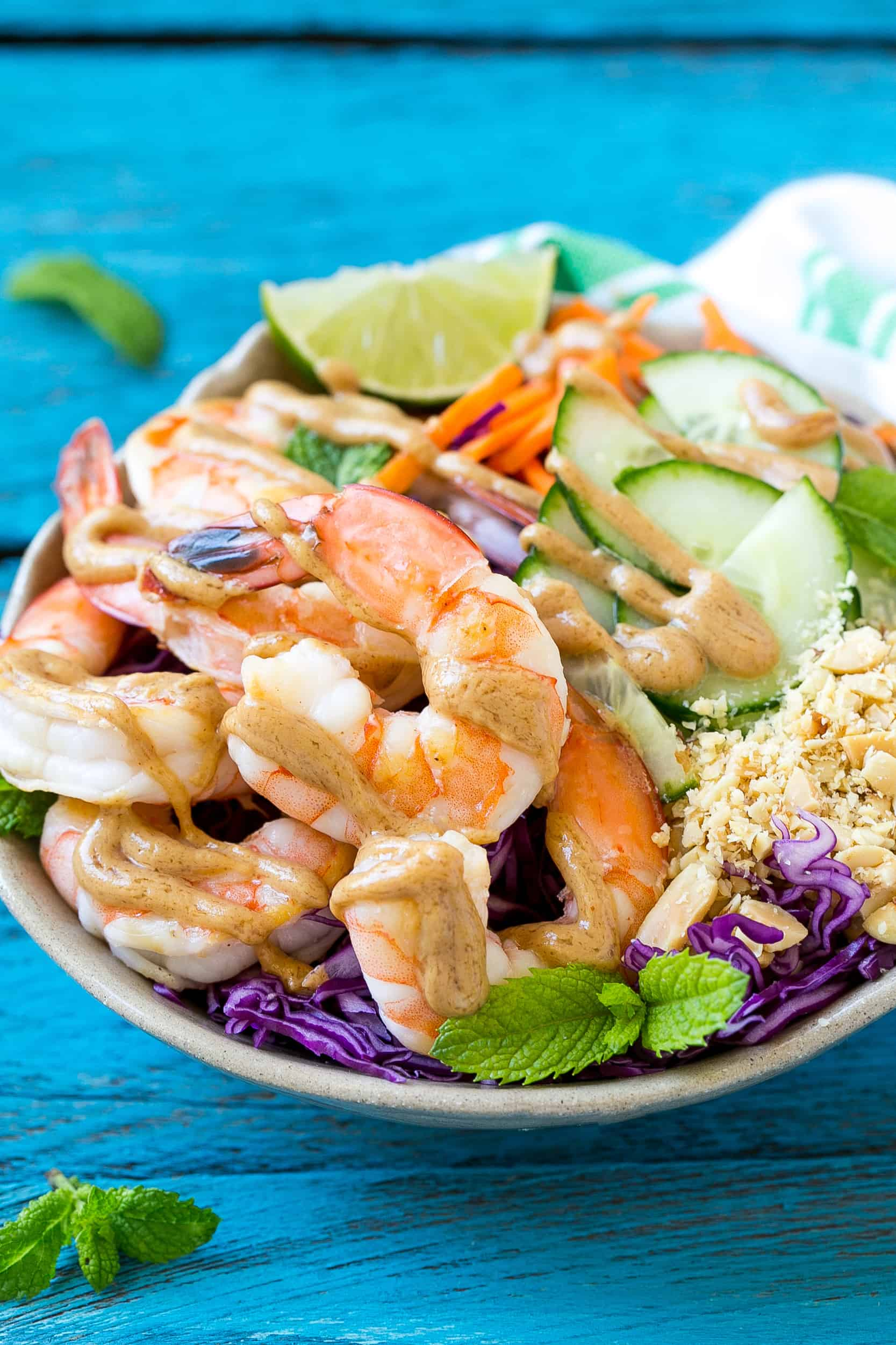 close up of healthy and easy shrimp salad recipe in a white bowl