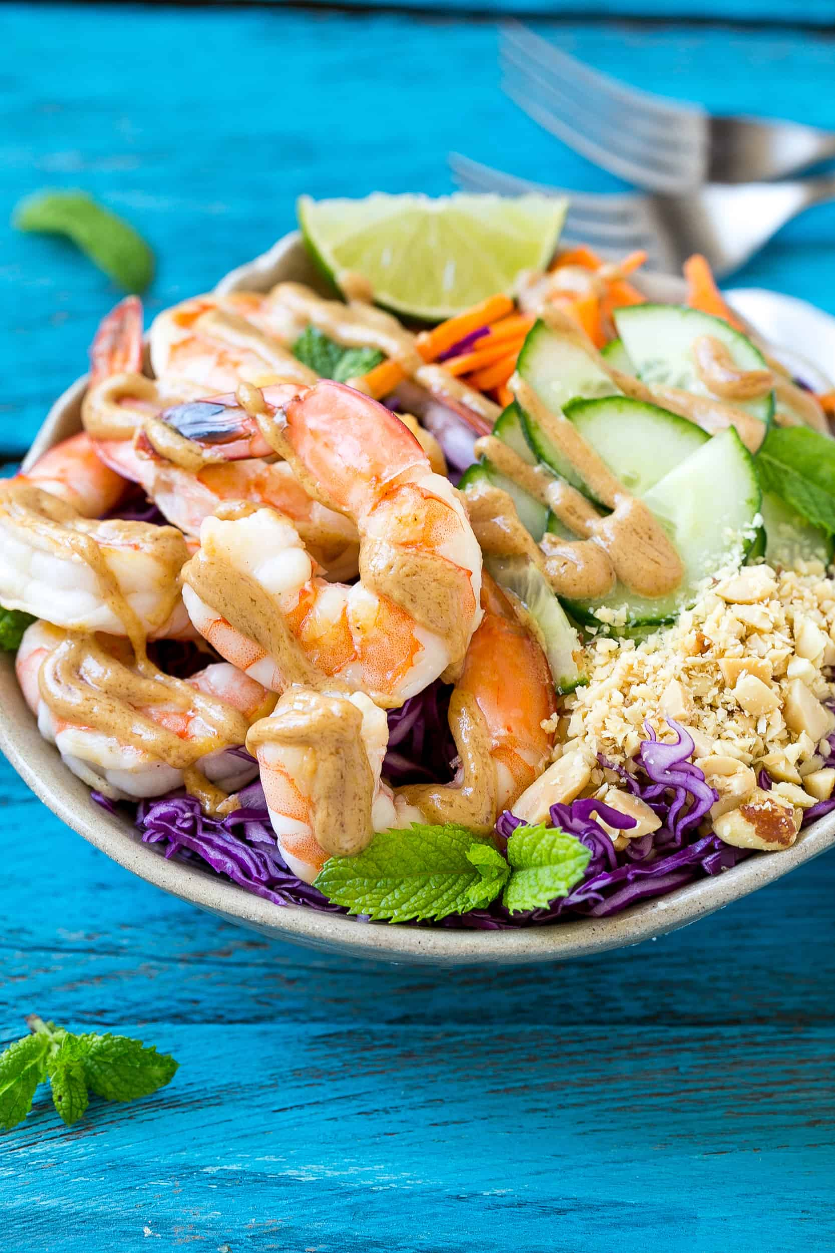 healthy shrimp salad recipe with asian peanut sauce dressing