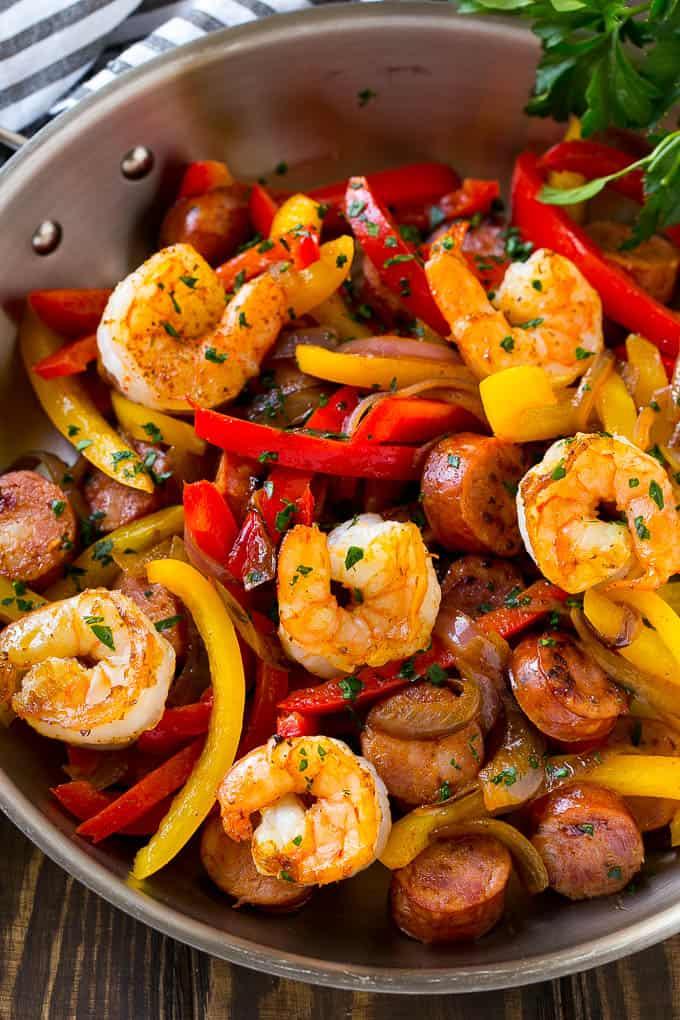 cajun shrimp and sausage skillet