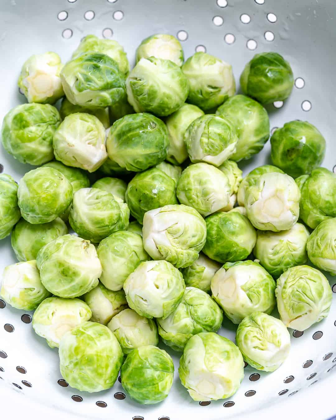 washed and cut up Brussel sprouts