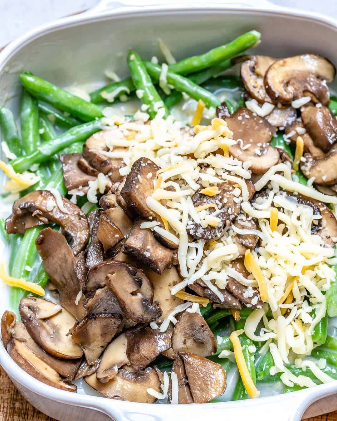 green beans, mushroom, and cheese