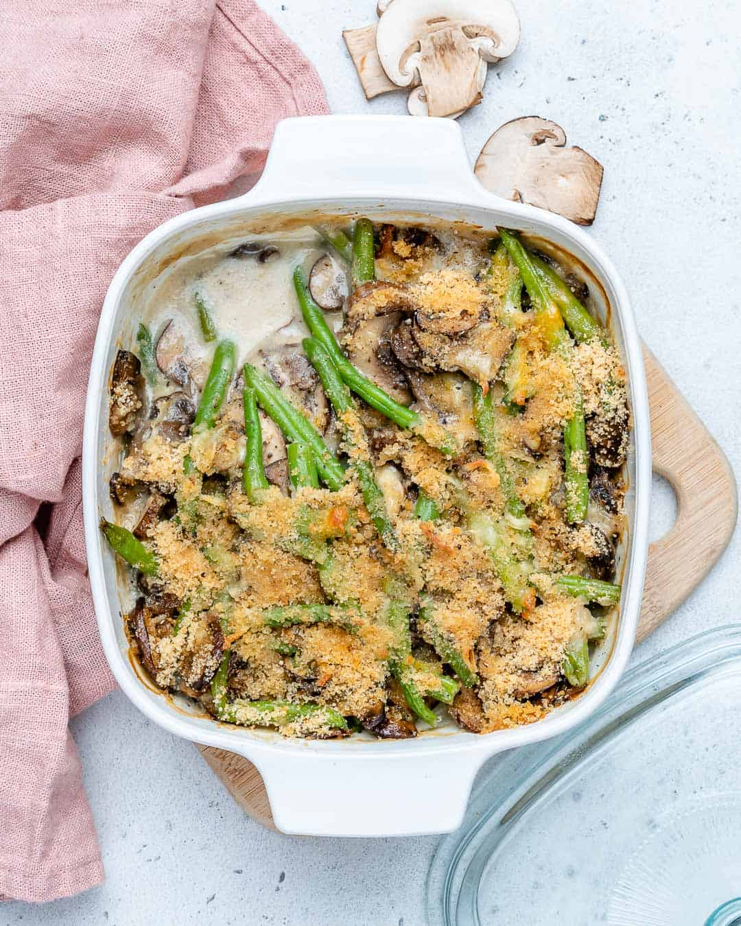 top down shot of healthy and easy green bean casserole