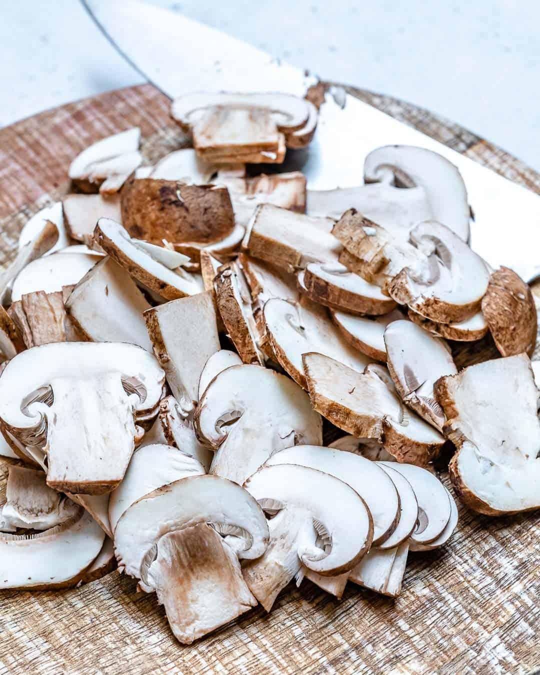 slice fresh mushrooms for green bean casserole