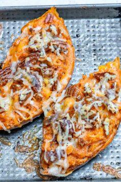 Pumpkin Spice Twice Baked Sweet Potatoes