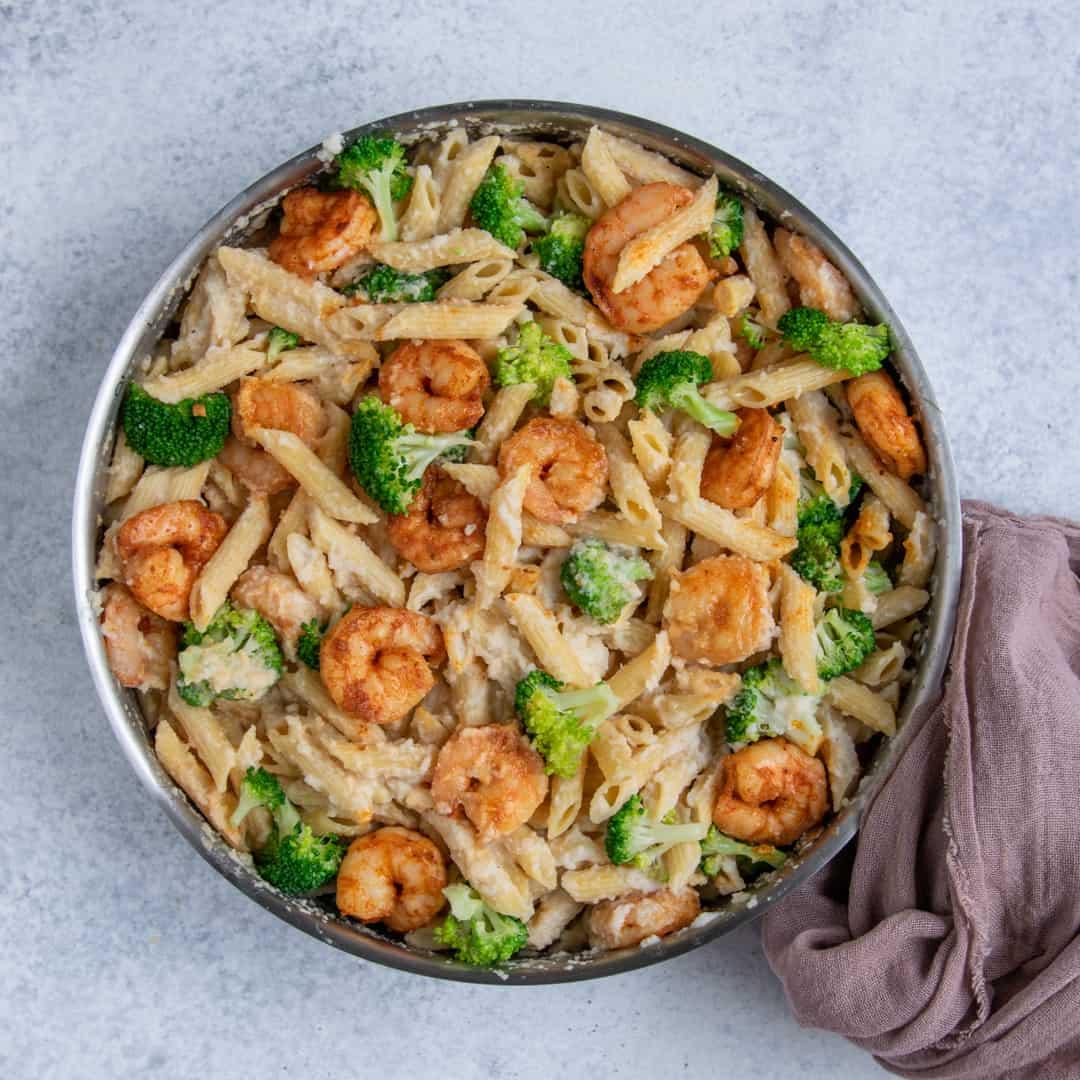 healthy Broccoli Shrimp Alfredo