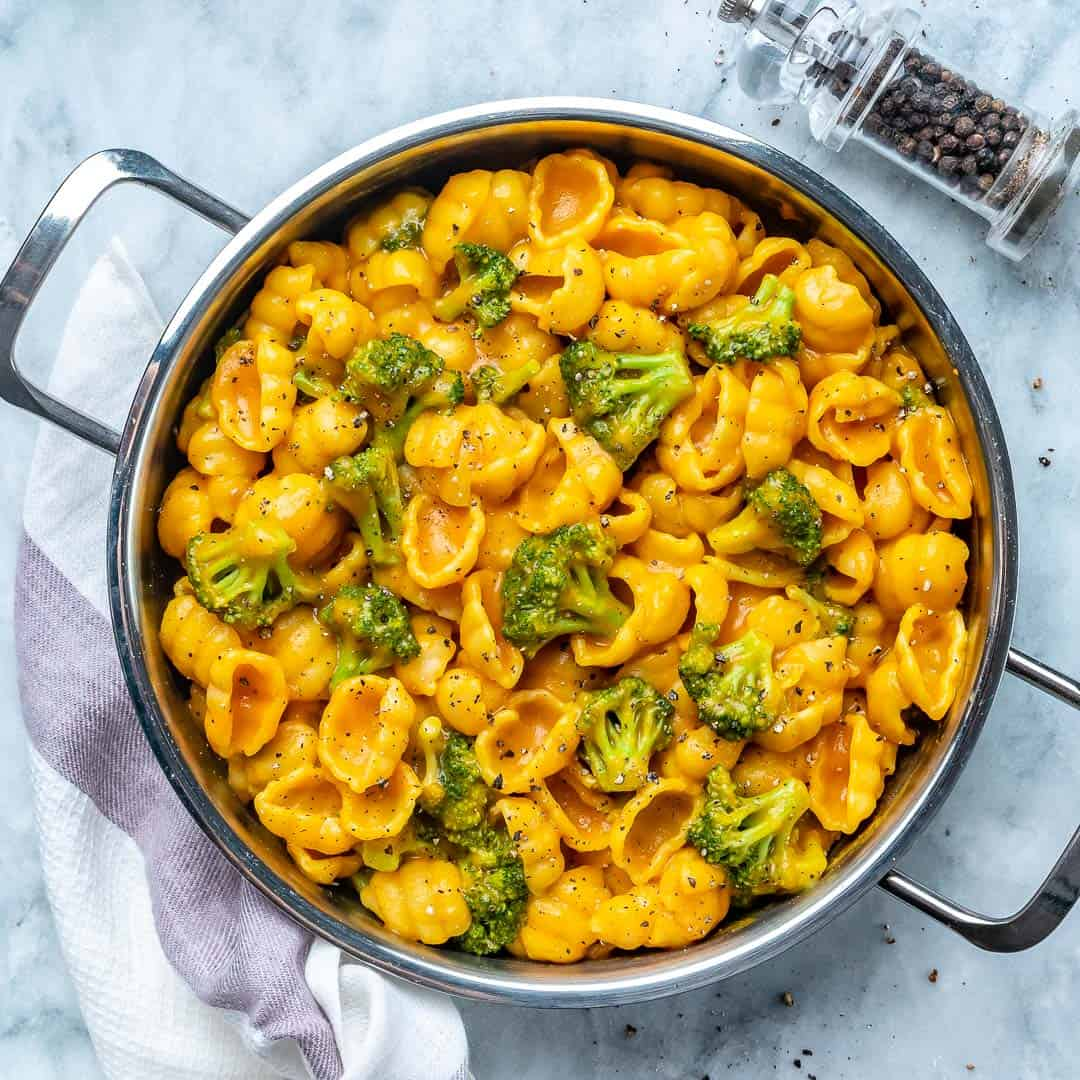 vegan macaroni and cheese with broccoli