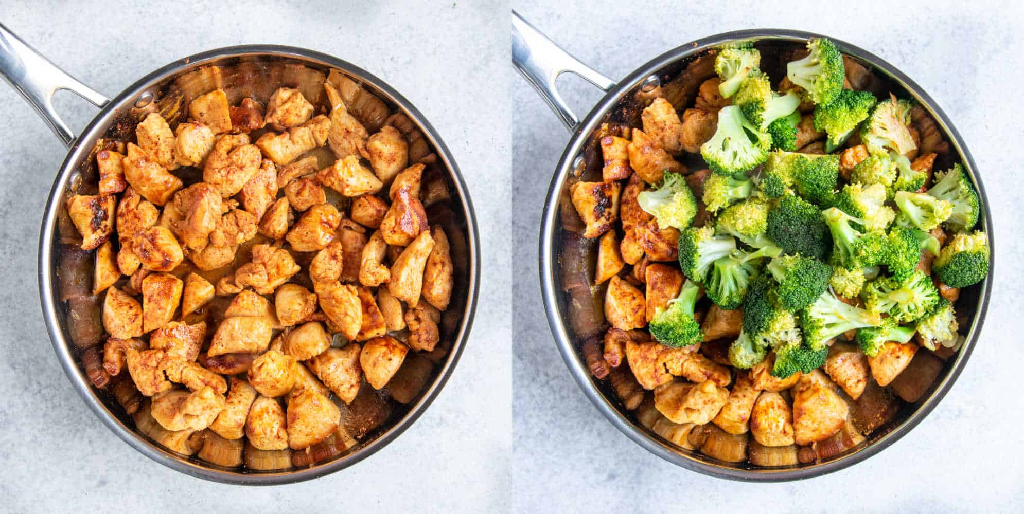 chicken in a skillet with broccoli