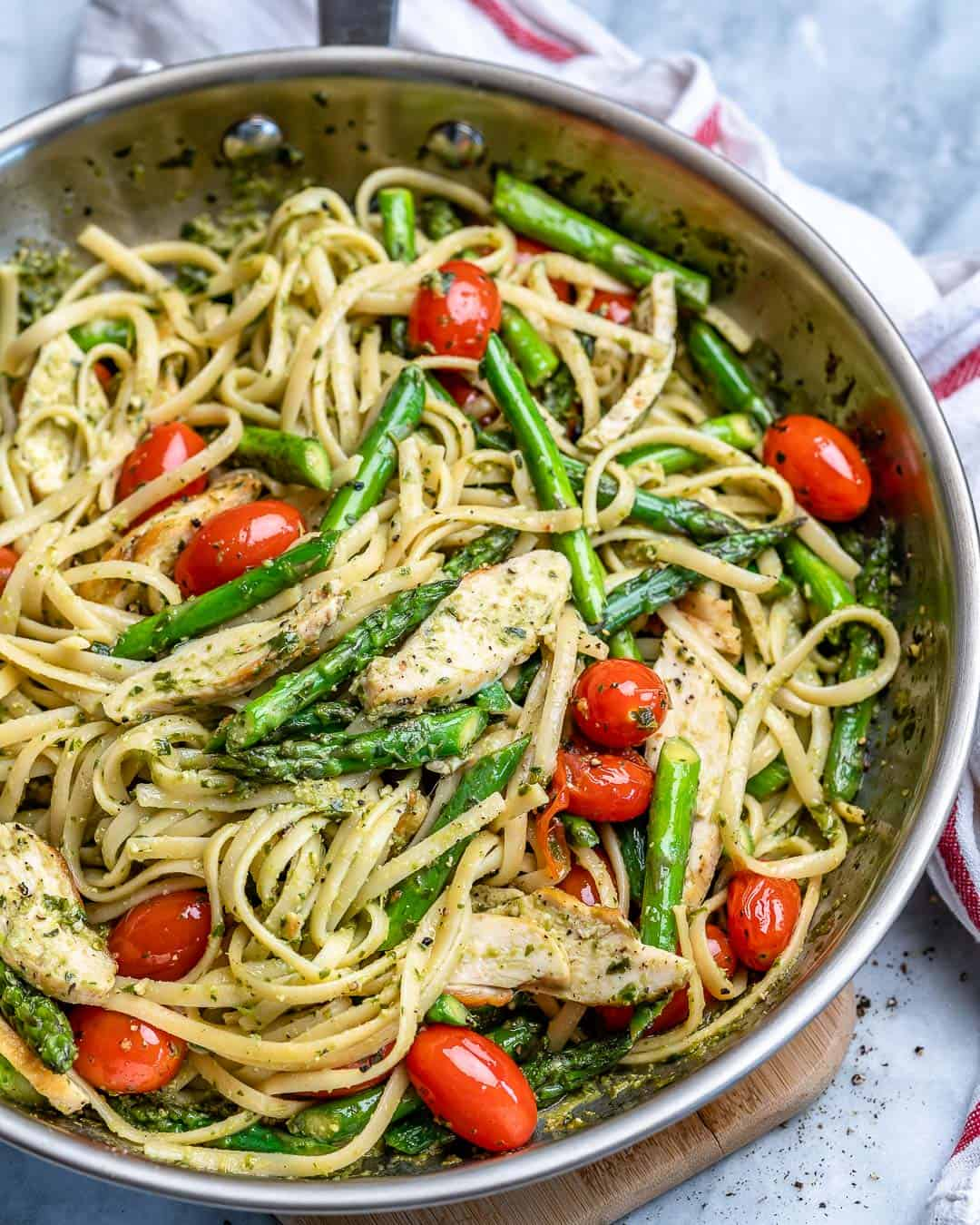 healthy pesto chicken pasta recipe
