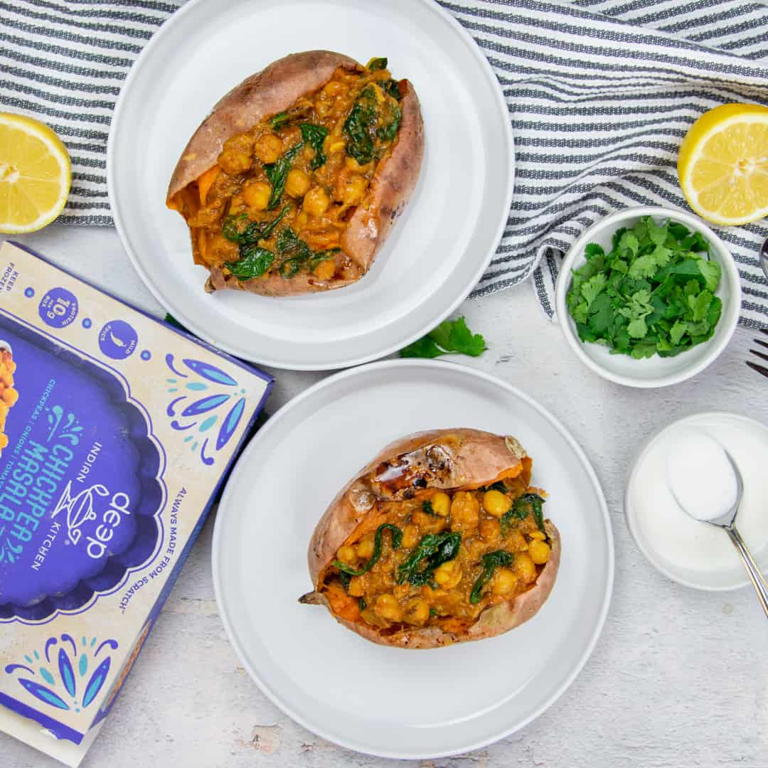 Chickpea Masala in sweet potatoes