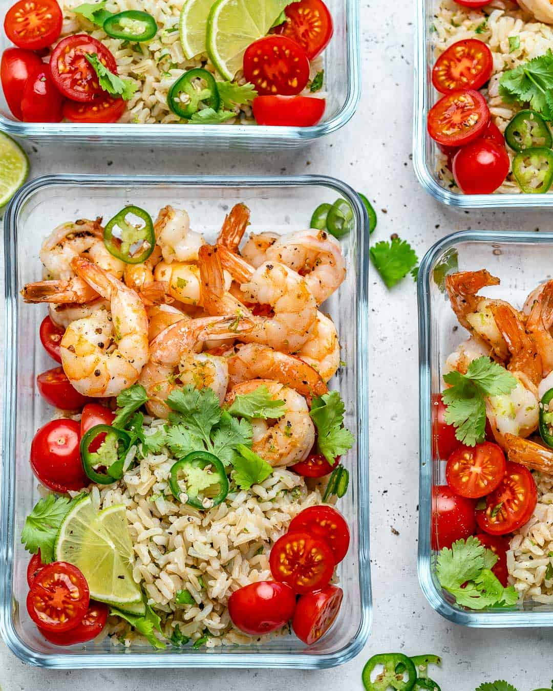 shrimp meal prep bowls with brown rice