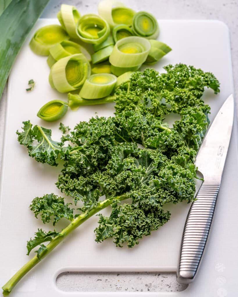 chopped kale and leeks