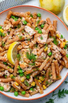 Lemon dill salmon pasta salad