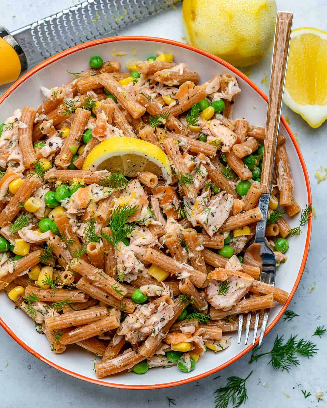 healthy pasta salad recipe with peas, corn, and salmon