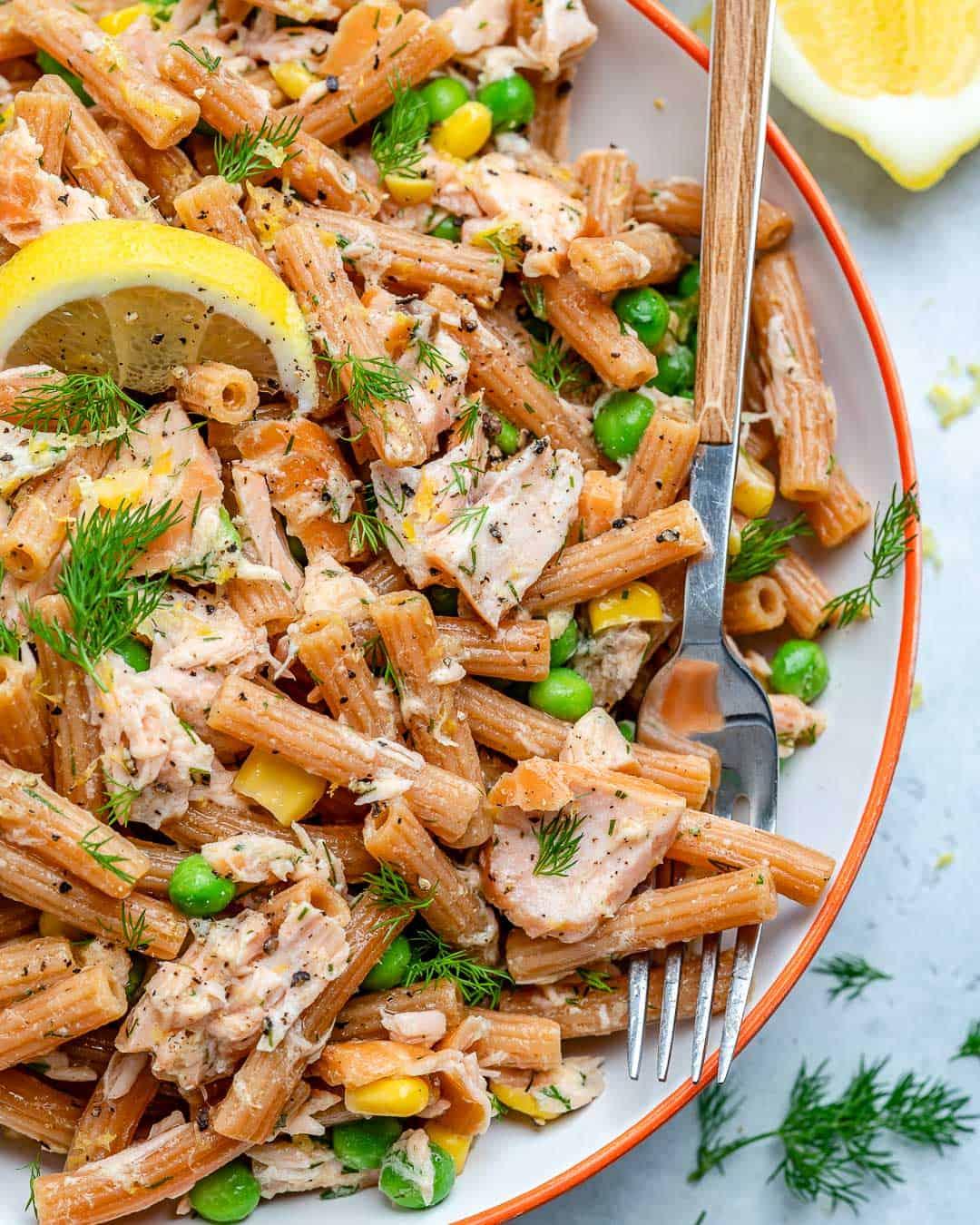 smoked salmon ans pasta salad