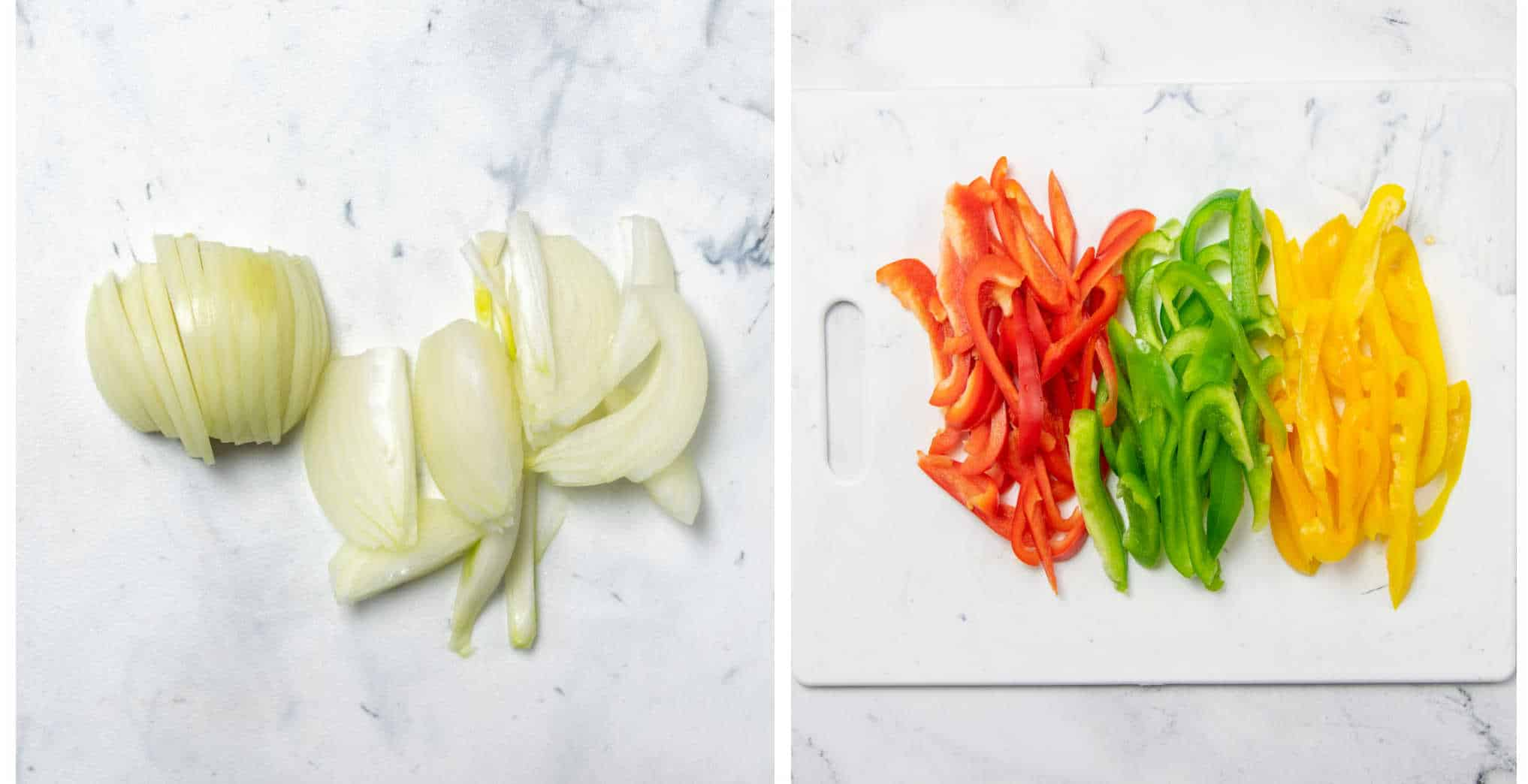 how to cut peppers and onions for fajitas