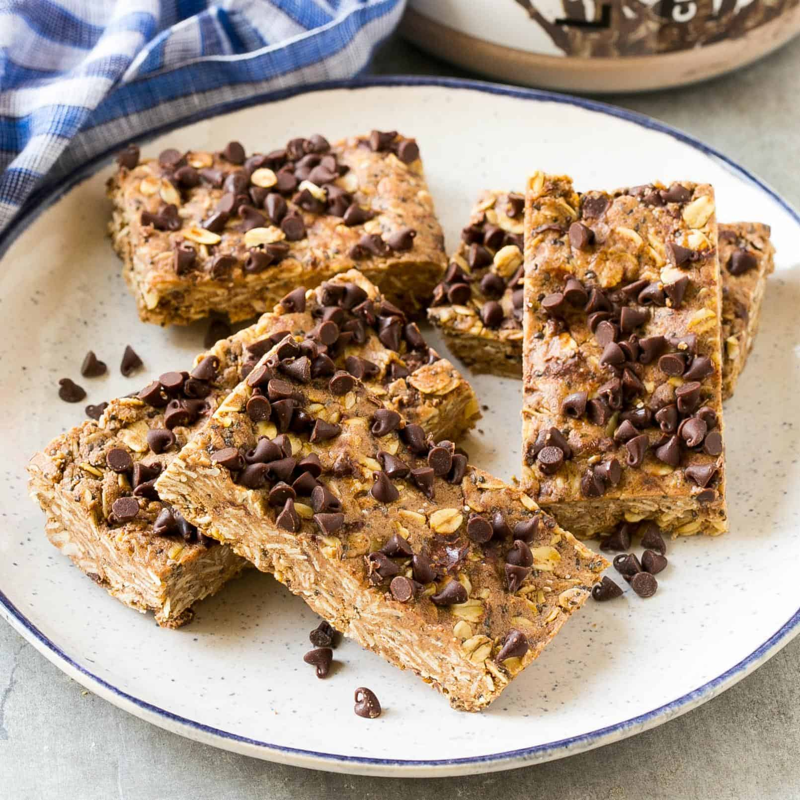 protein bars on a plate