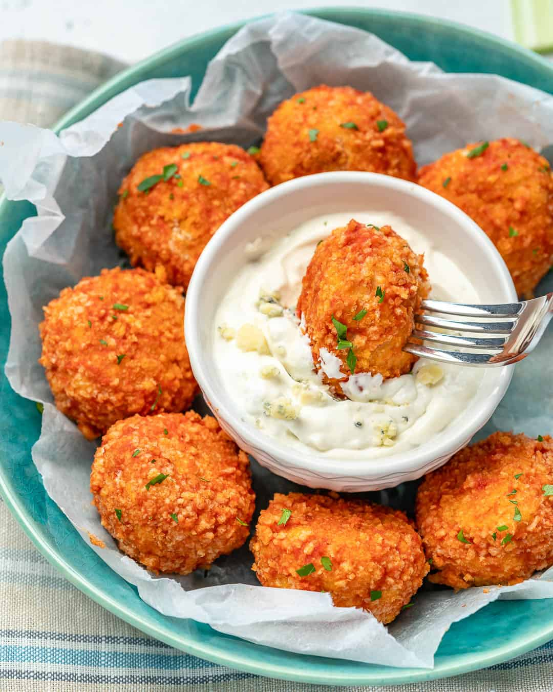 easy chicken meatballs with buffalo sauce and blue cheese dressing dip