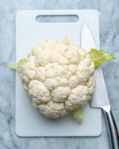 top view of cauliflower head on platter