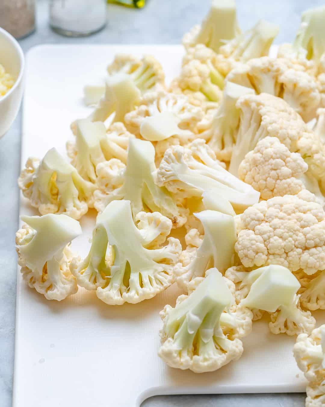 Break cauliflower florets into even sized pieces