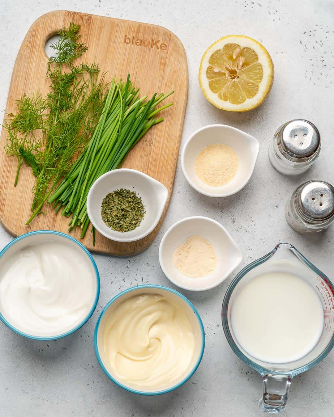 Ingredients for Homemade Ranch Dressing on counter